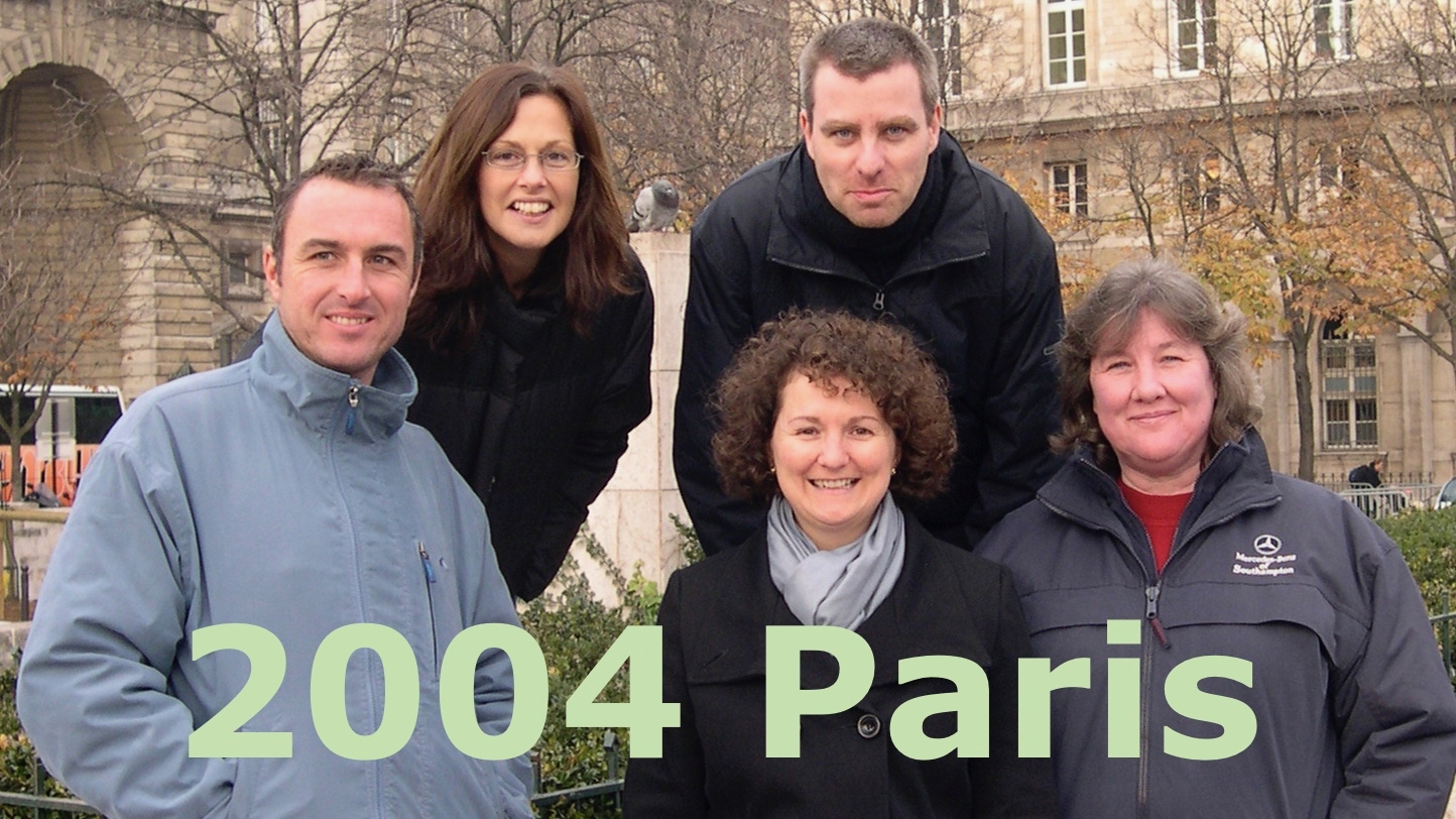 The title card from my short video entitled 2004 Paris showing a still shot of my wife and friends, dressed in warm coats on a cold Parisian street.