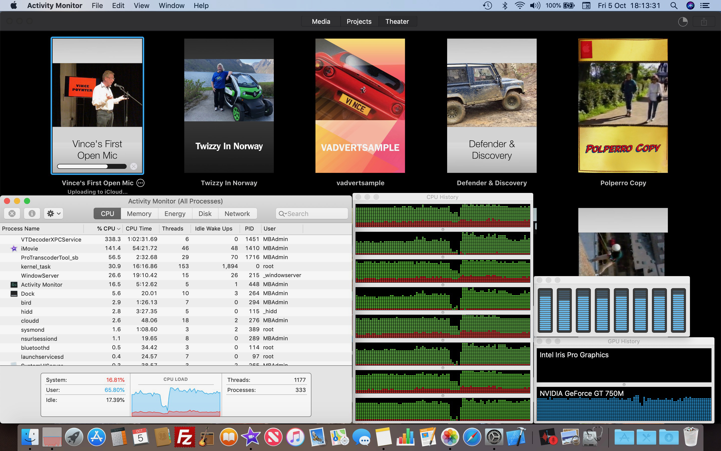 A screenshot showing the Activity Monitor overlaid over iMovie Theatre with a number of projects. One of the projects, entitled 'Vince's First Open Mic' is showing as uploading to iCloud. The Activity Monitor is showing four windows, All Processes, CPU History, Core performance and Graphics Cards. The data stream and level meters show almost maximum use on all the cores, the CPU load and the NVIDIA GeForce GT 750M graphics card