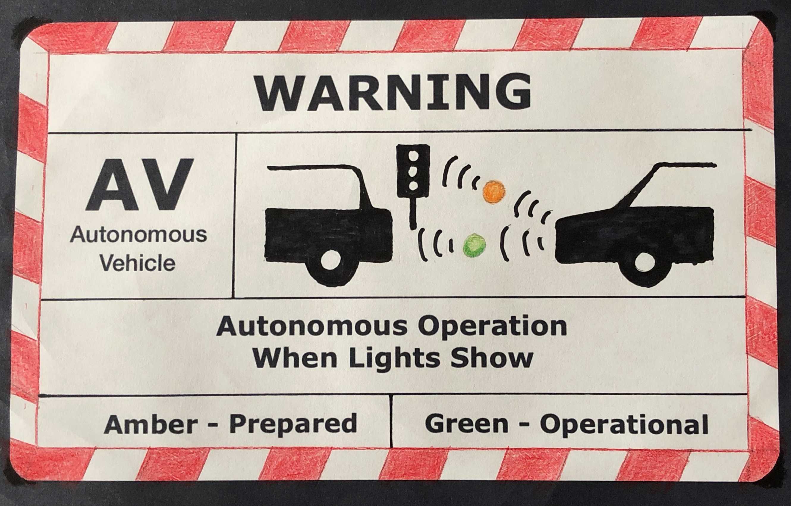 A mock up of a potential plate to be attached to the rear of a vehicle. In white with a red and white chevron border and the word Warning at the top. In the centre a large AV above the words Autonomous Vehicle. A graphic showing the gap between a rear and front of a vehicle shows brackets indicating a radio connection between the cars and a traffic light, interupted by an amber or green lamp. Below words explain Autonomous Operation When Lights Show and an indication that Amber means Prepared and Green means Operational