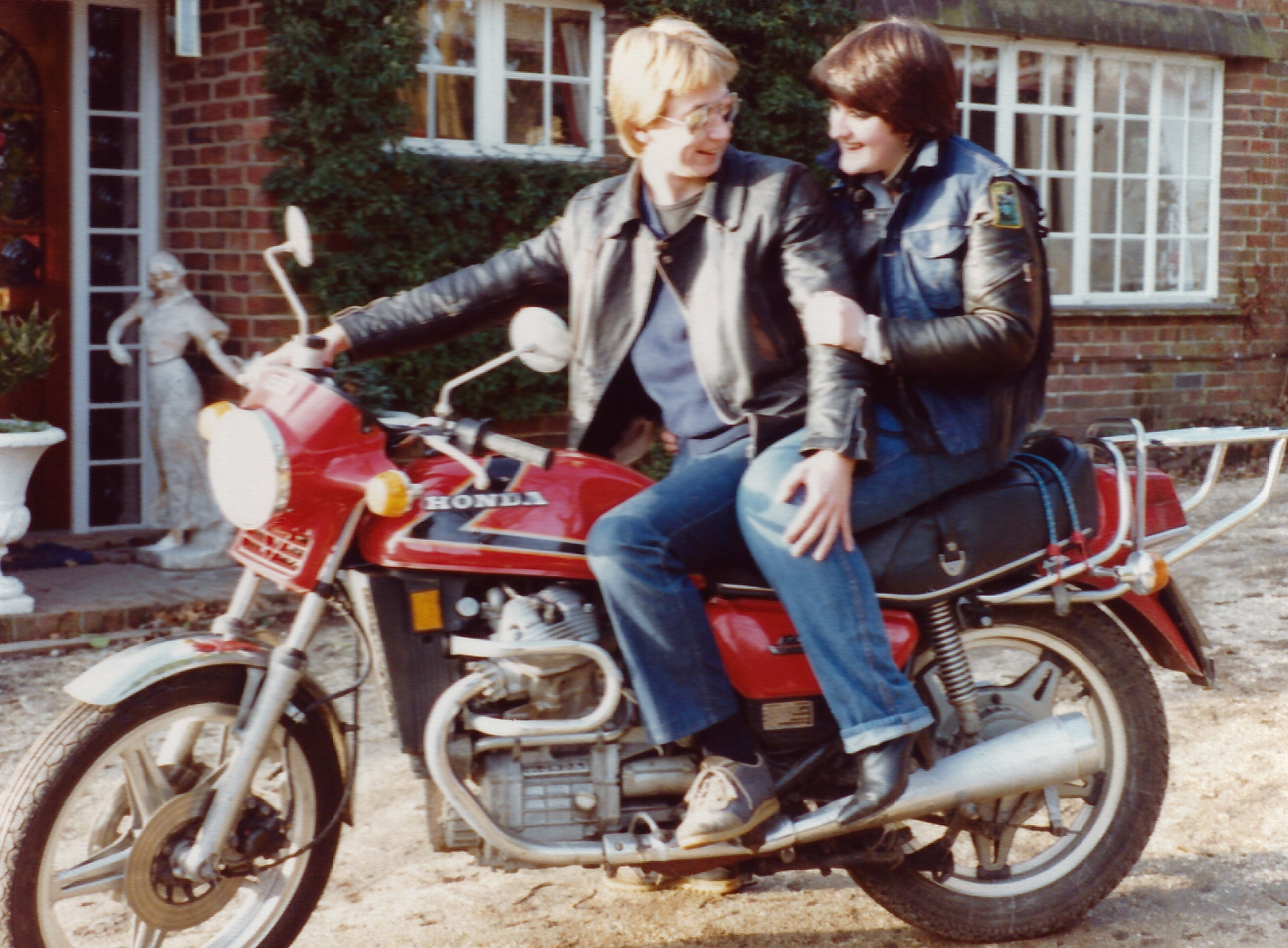The author and his girlfriend Karen astride the Honda CX500