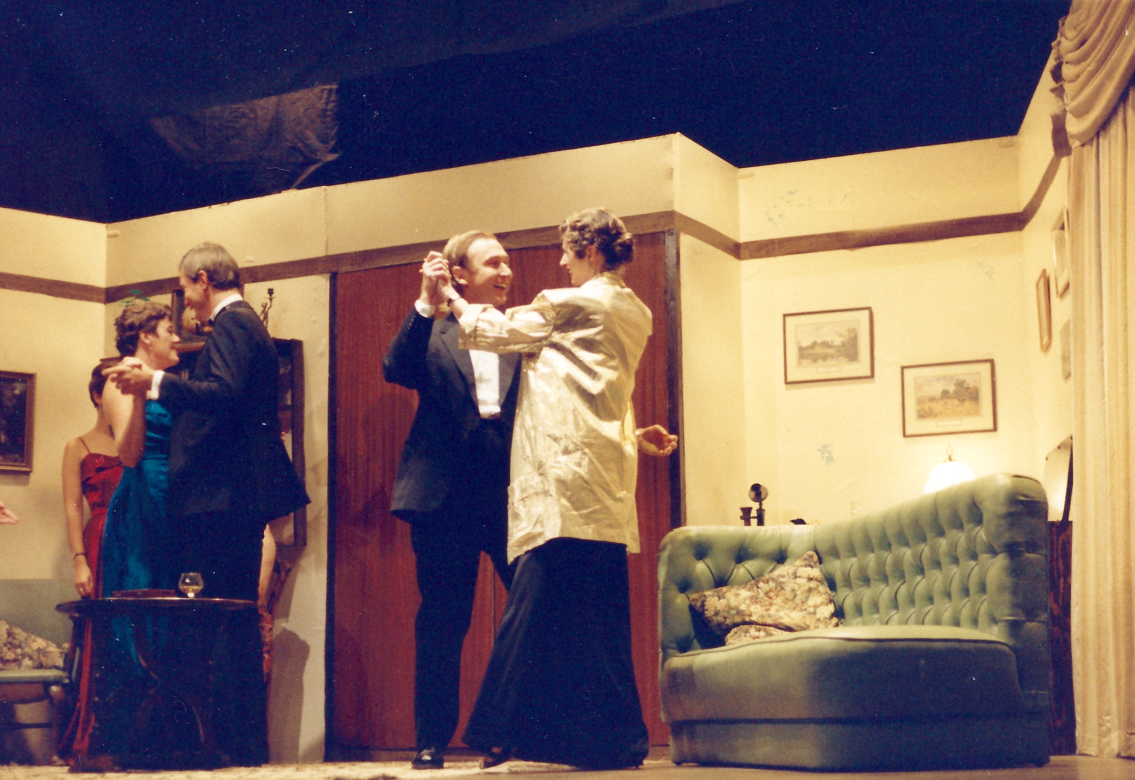 A still from the Bishops Waltham Little Theatre's 1989 production of Dangerous Corner, showing two couples dancing in a lounge setting