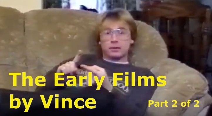 The title card from part two of the Early Films by Vince showing the author sat on a plump sofa.