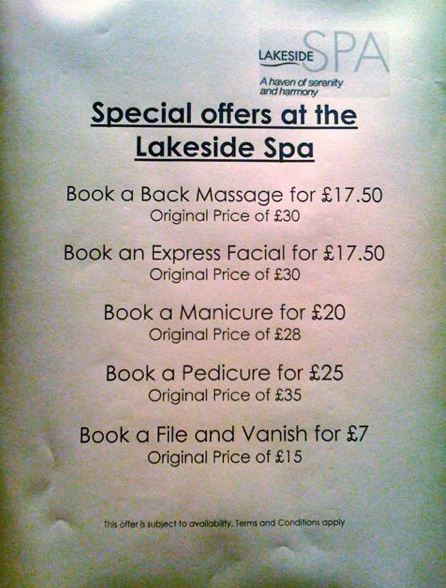 A typed notice posted advertising a menu of Spa treatments.  The last one reads - Book a file and vanish