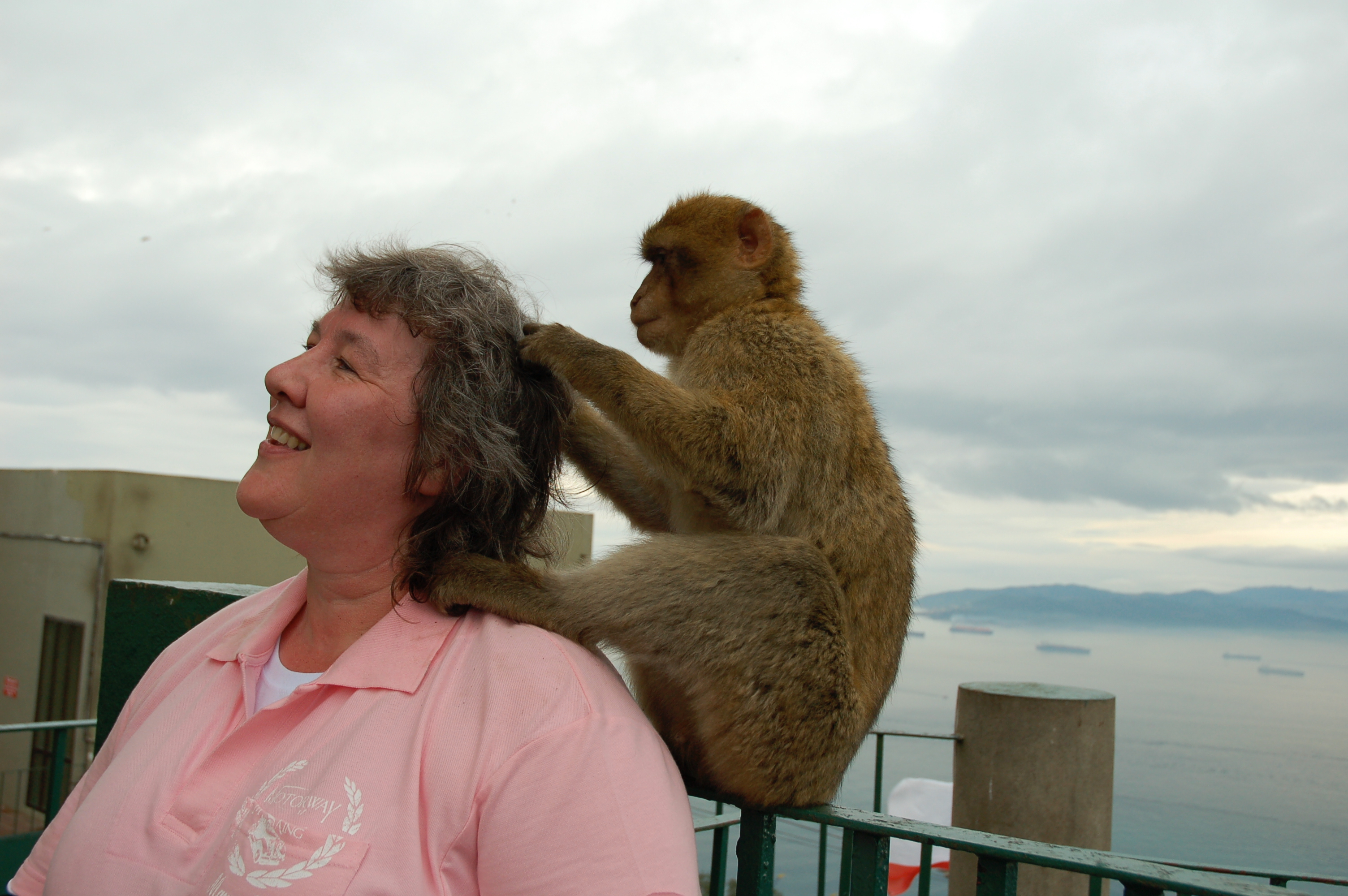 Lynda in Gibraltar with a Barbary Ape tugging at her hair
