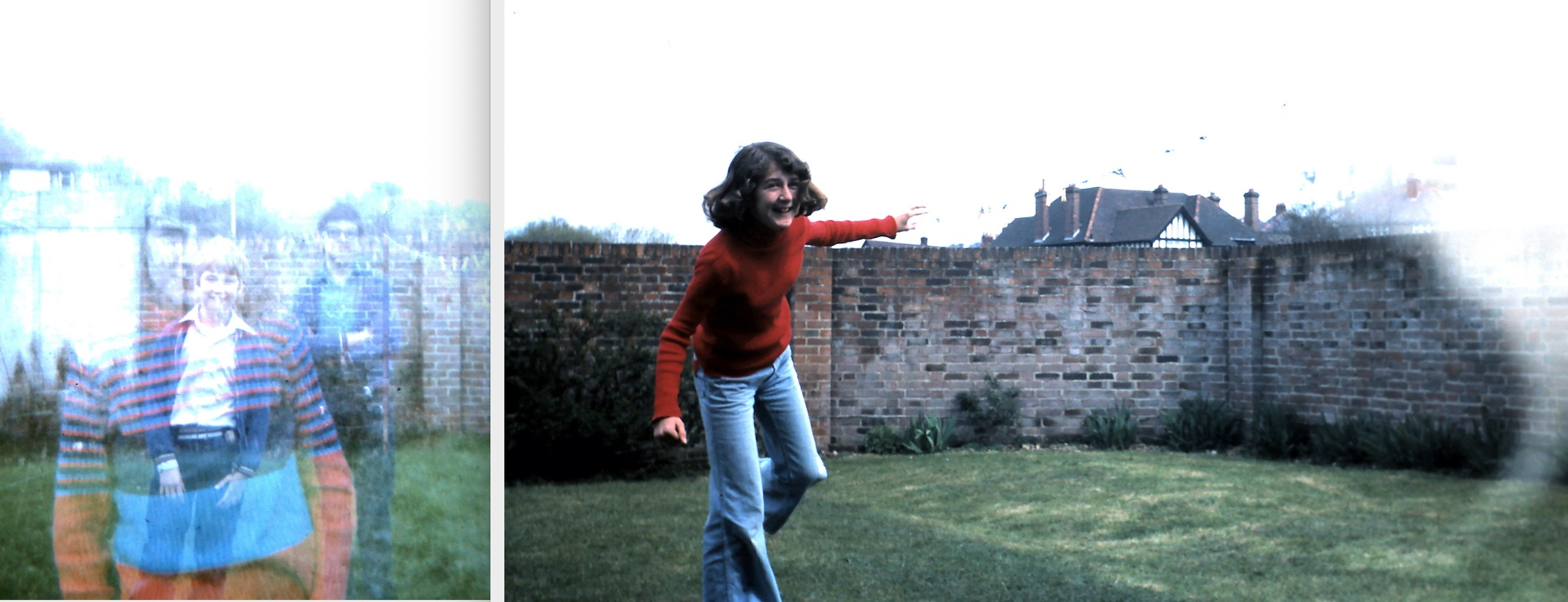 The image comprises two pictures side by side, separated by a narrow grey line. On the left is a picture of three children stood on grass in a red brick walled garden. The image shows the children as ghostly, placed one on another. In the foreground a head and body shot of girl in a red and blue striped jumper, behind her a three quarter length shot of a boy in a white shirt, blue cardigan and blue jeans next to another taller boy wearing black framed glasses, his arms folded, wearing a blue shirt, cardigan and jeans. Looking carefully you can see that the taller boy is actual a ghostly apparition behind the smaller boy. The image to the right shows the same girl in the same setting apparently fleeing toward the camera. Behind her can be seen a superimposed image of white and black rings, which are not fully clear