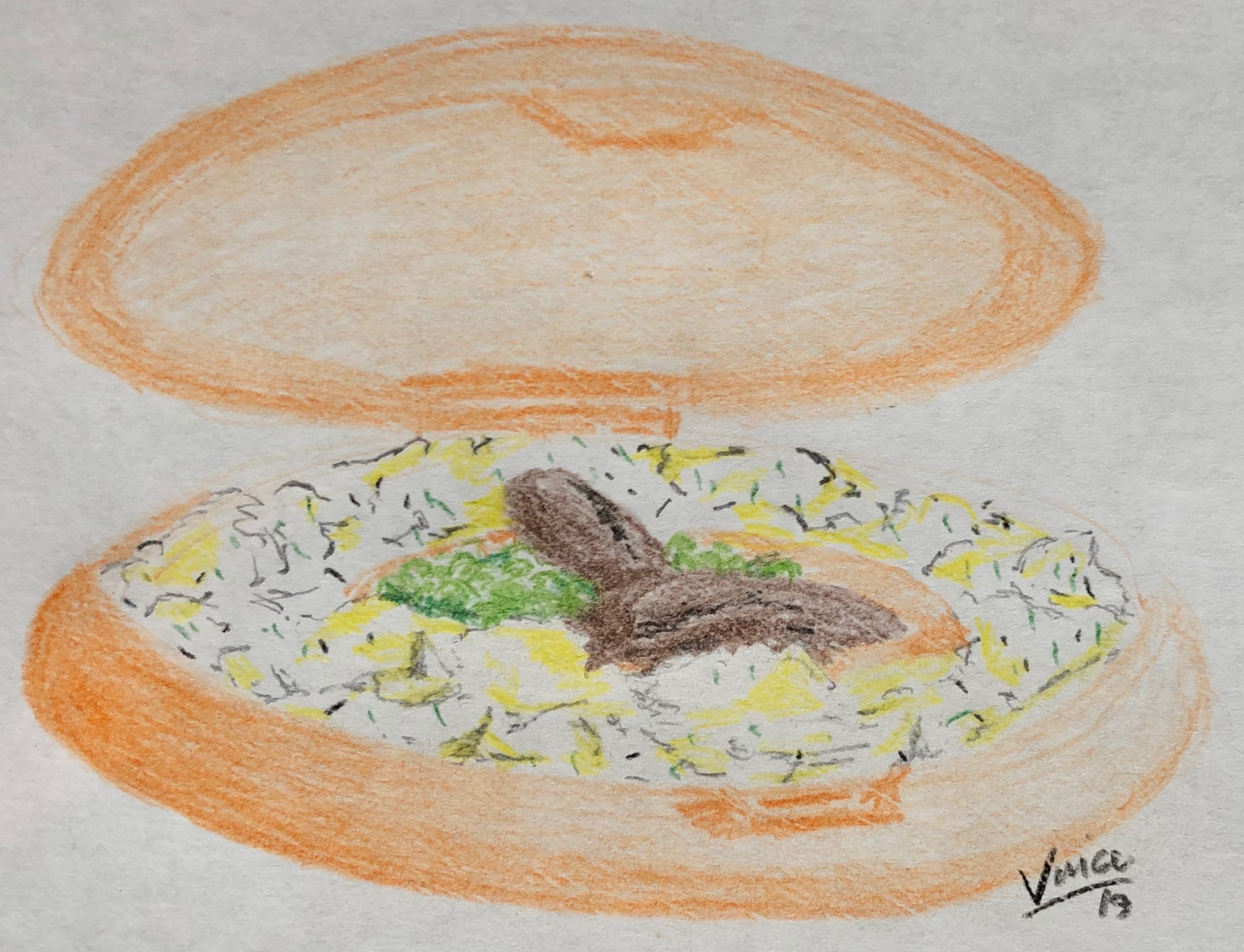 A hand drawn coloured pencil sketch of a potential ring-o-mash serving showing a ring of mashed potato in an originally designed circular polystyrene container.  Within the ring of mash a pair of sausages are shown along with a serving of green peas. The drawing is signed and dated at the bottom right as Vince 19.