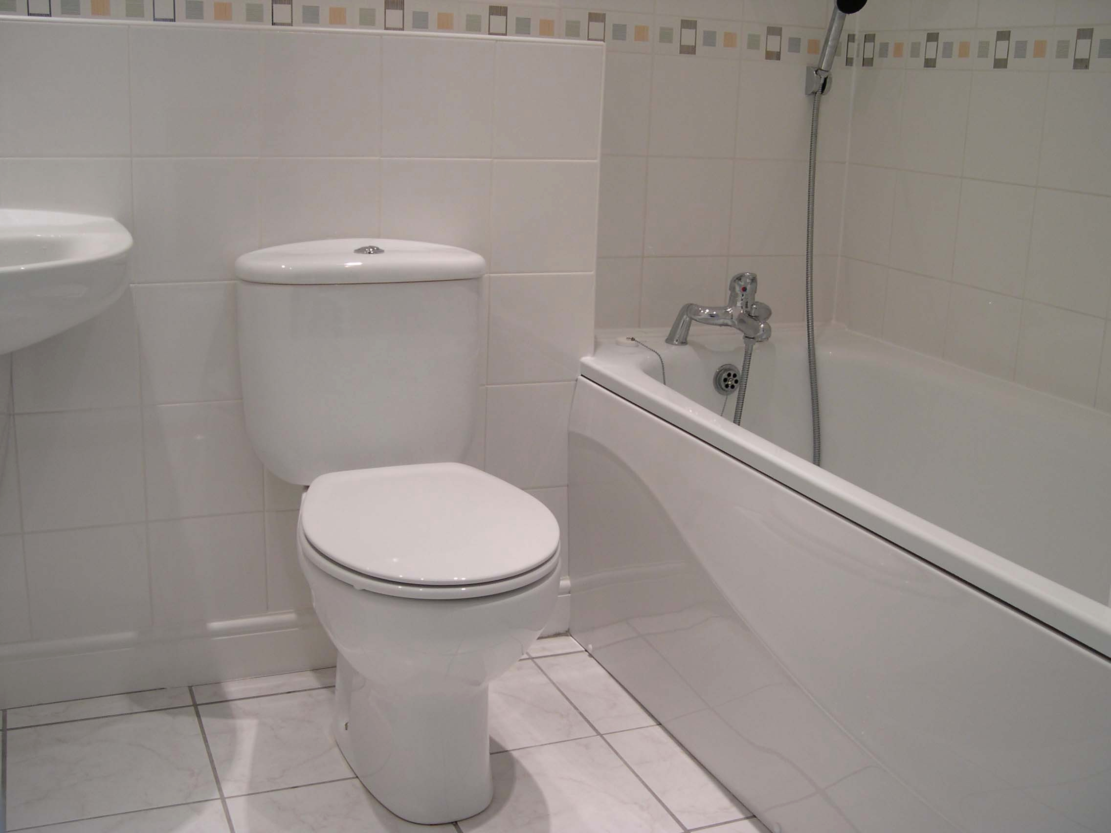 A photo of a very white bathroom showing the close-coupled WC, part of the pedestal mpunted basin on the left and the bath on the right