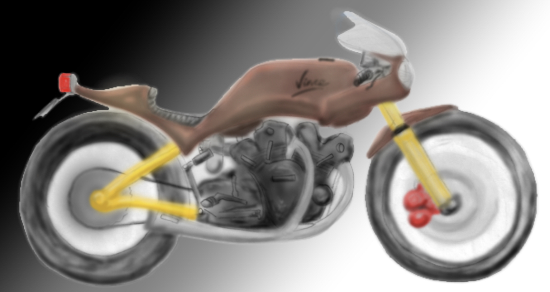 A pencil sketch of the Vincent motorbike concept, a sports style motorbike with a Vincent engine and large rear tyre