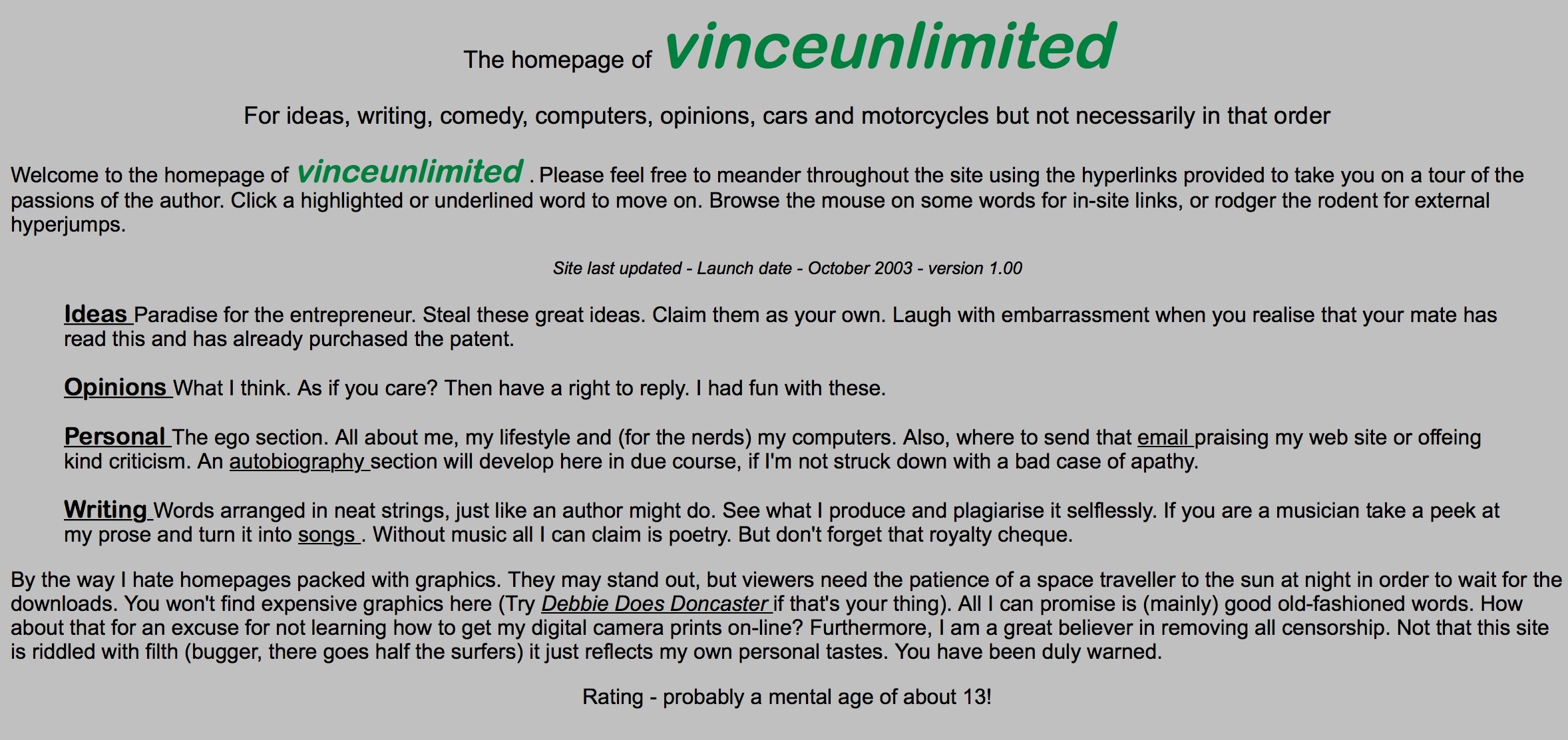 Screenshot of the Home page of vinceunlimited.co.uk version 1