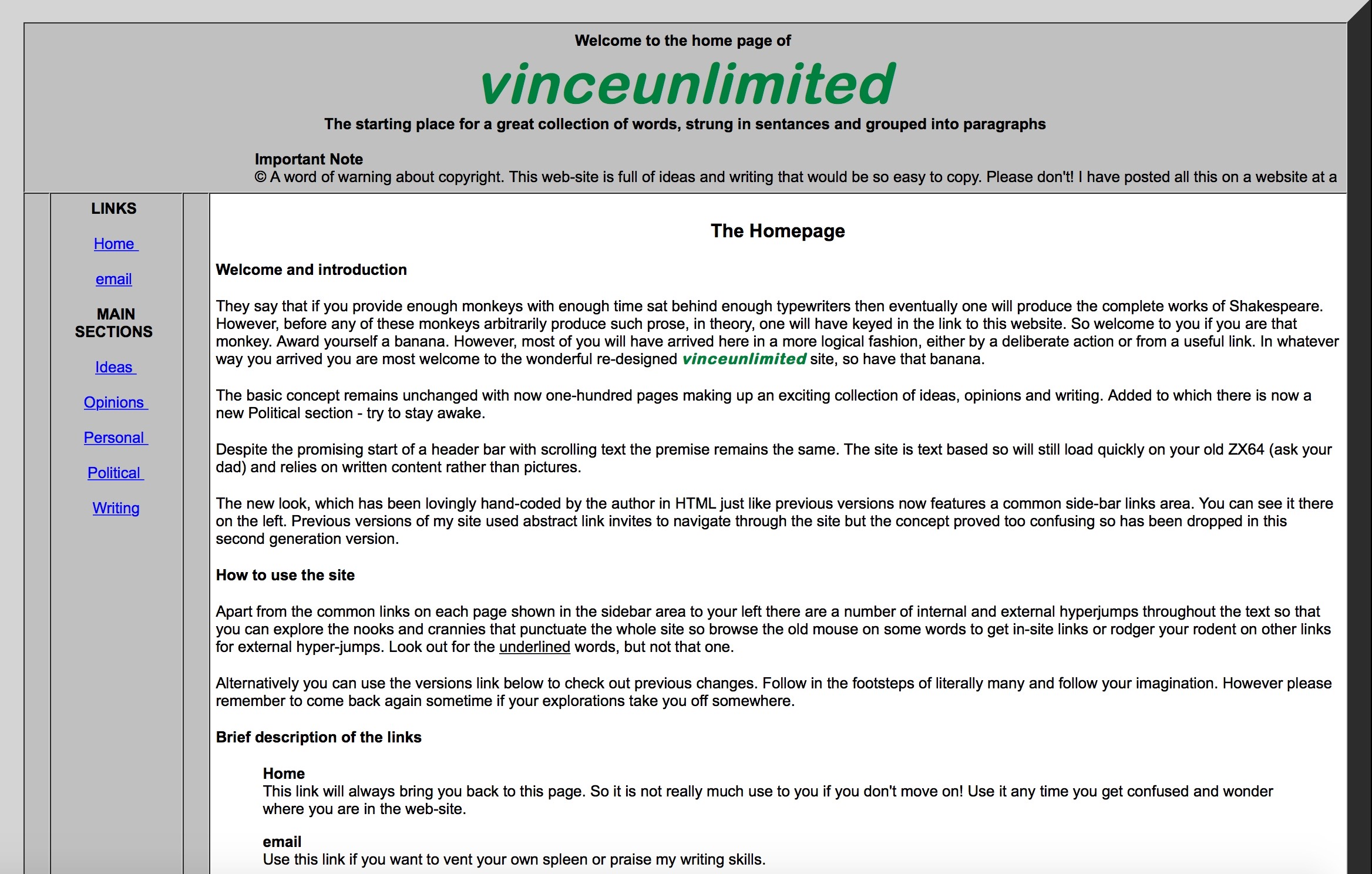 Screenshot of the Home page of vinceunlimited.co.uk version 2
