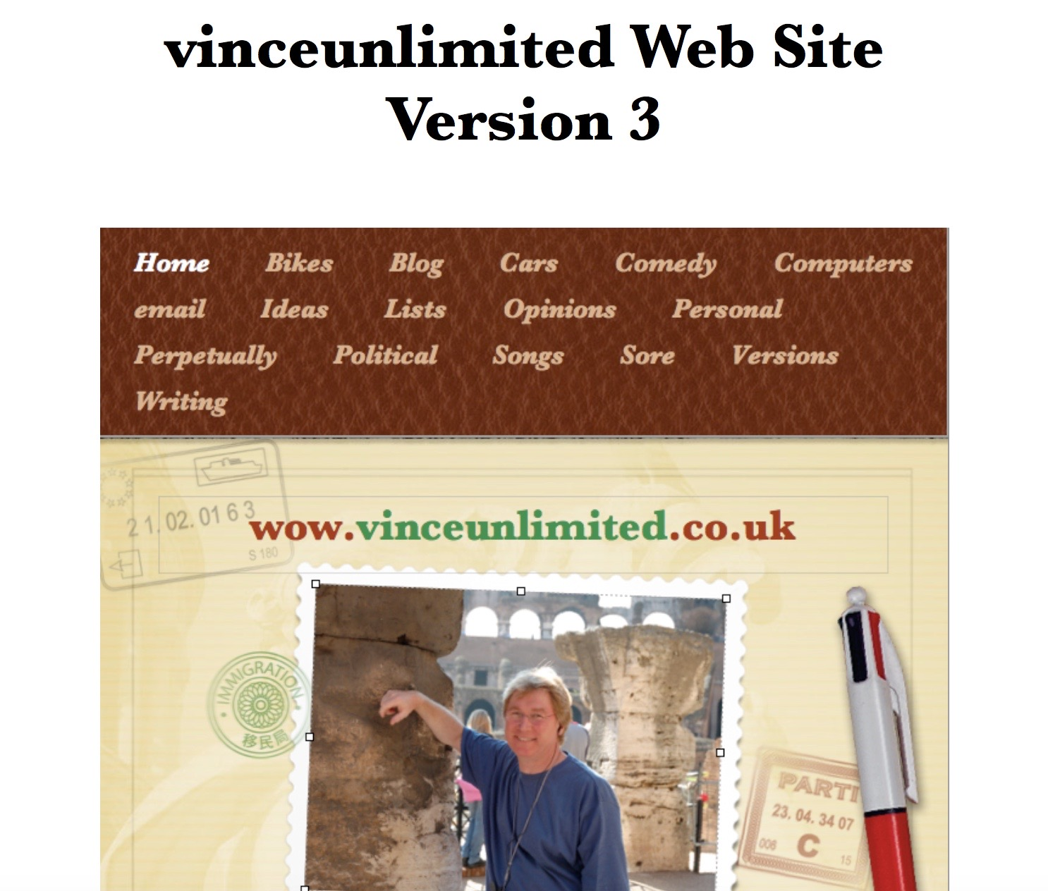 Screenshot of the Home page of vinceunlimited.co.uk version 3